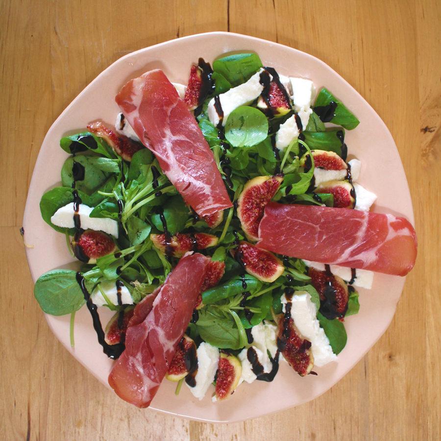 Envie d'Italie: salade de figues, mozzarella & coppa